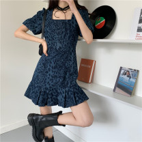 Dress Summer 2021 Dark blue S,M,L Short skirt singleton  Short sleeve commute square neck High waist Socket A-line skirt routine 18-24 years old Type A Other / other Korean version 31% (inclusive) - 50% (inclusive)