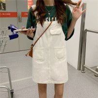 Dress Summer 2021 white S,M,L,XL Short skirt singleton  Sleeveless commute Loose waist Solid color Socket straps 18-24 years old Type H Other / other Korean version 31% (inclusive) - 50% (inclusive)