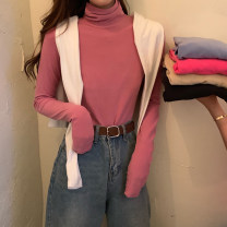 T-shirt Rose red, white, black, alpaca, raspberry powder, haze blue Average size Spring 2021 Long sleeves High collar Self cultivation Regular routine commute other 31% (inclusive) - 50% (inclusive) 18-24 years old Simplicity youth Solid color Other / other