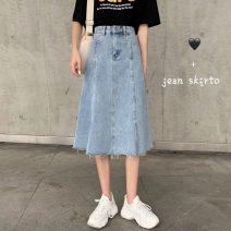skirt Summer 2021 S,M,L blue Mid length dress commute High waist A-line skirt Solid color Type A 18-24 years old 31% (inclusive) - 50% (inclusive) other Other / other other Korean version