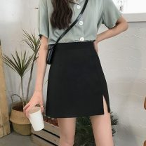 skirt Summer 2021 S,M,L,XL Apricot, black Short skirt commute High waist A-line skirt Solid color Type A 18-24 years old 31% (inclusive) - 50% (inclusive) Korean version