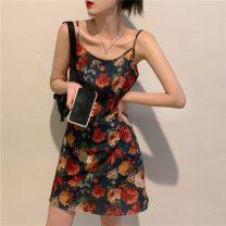 Dress Summer 2021 Star Black T-shirt, flower suspender skirt S. M, l, average size Short skirt singleton  Sleeveless commute High waist Decor Socket camisole 18-24 years old Type A Other / other Korean version 31% (inclusive) - 50% (inclusive)