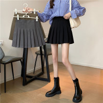 skirt Spring 2021 S,M,L,XL Gray, black, card, light blue check Short skirt commute High waist Pleated skirt Solid color Type A 18-24 years old 31% (inclusive) - 50% (inclusive) other Other / other other fold Korean version