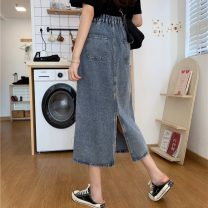skirt Spring 2021 S,M,L,XL blue Middle-skirt commute High waist A-line skirt Solid color Type A 18-24 years old 31% (inclusive) - 50% (inclusive) other Korean version