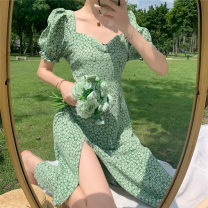 Dress Spring 2021 White flower dress with green background S,M,L Mid length dress singleton  Short sleeve commute square neck High waist Decor Socket A-line skirt puff sleeve Others 18-24 years old Type A Other / other Korean version 31% (inclusive) - 50% (inclusive) other other