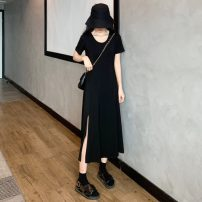 Dress Summer 2021 black M,L,XL Mid length dress singleton  Short sleeve commute Crew neck High waist Solid color Socket A-line skirt routine Others 18-24 years old Type A Other / other Korean version 31% (inclusive) - 50% (inclusive) other