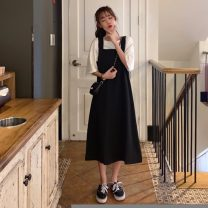 Dress Spring 2021 Black, maroon Average size Mid length dress singleton  Sleeveless commute Loose waist Solid color zipper A-line skirt straps 18-24 years old Type A Other / other Korean version 31% (inclusive) - 50% (inclusive)