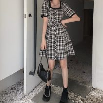 Dress Summer 2021 Picture color M, L Middle-skirt singleton  Short sleeve commute square neck High waist lattice Single breasted A-line skirt puff sleeve Others 18-24 years old Type A Other / other Korean version 31% (inclusive) - 50% (inclusive) other other