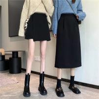 skirt Spring 2021 S,M,L Black long, black short, black long (plush), black short (plush) Mid length dress commute High waist A-line skirt Solid color Type A 18-24 years old 31% (inclusive) - 50% (inclusive) Other / other zipper Korean version