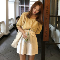 Fashion suit Summer of 2018 Average size Black Plaid Top Yellow Plaid Top Pink Plaid top Khaki Shorts White Shorts Black Shorts 18-25 years old Other / other