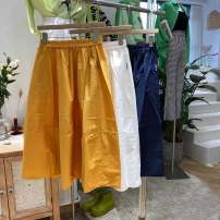 skirt Spring 2021 M, L Mid length dress commute High waist A-line skirt Solid color Type A pocket