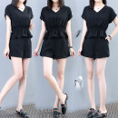 Women's large Summer 2020 black 2XL,3XL,4XL,5XL,L,XL Other oversize styles Two piece set commute easy moderate Socket Short sleeve Solid color Korean version V-neck routine polyester Collage routine 18528# Lace stitching shorts