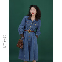 Dress Spring 2021 Denim blue S,M,L Middle-skirt singleton  Long sleeves commute Polo collar Loose waist Solid color Single breasted A-line skirt other Others 18-24 years old Type A Retro Splicing 51% (inclusive) - 70% (inclusive) other