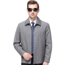 Jacket Oana  Business gentleman As shown in the figure 170/84A,175/88A,180/92A,185/96A,190/100A Plush and thicken Self cultivation Other leisure autumn Long sleeves Wear out Lapel middle age routine Zipper placket Cloth hem No iron treatment Solid color Pleated patch bag other
