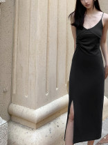 Dress Summer 2020 black XS,S,M,L longuette singleton  Sleeveless street V-neck High waist Solid color Socket One pace skirt camisole 18-24 years old Type X other cotton Europe and America