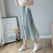 skirt Spring 2021 S,M,L,XL Lake blue, black Mid length dress fresh High waist A-line skirt Decor Type A 18-24 years old Chiffon printing