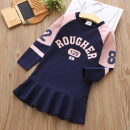 Dress Navy, orange female HM 100cm,110cm,120cm,130cm,140cm,150cm Other 100% spring and autumn princess Long sleeves other other A-line skirt qz5102 Class B 2, 3, 4, 5, 6, 7, 8, 9, 10, 11, 12, 13, 14 years old