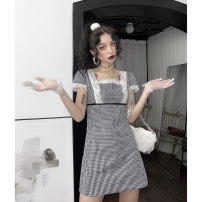 Dress Summer 2020 Black and white, black and white S,M,L Mid length dress singleton  Short sleeve street square neck High waist lattice other One pace skirt routine camisole 18-24 years old Type H Lace GG2195 Europe and America