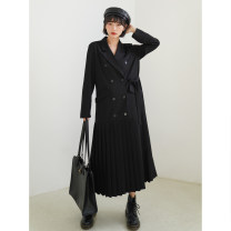 Dress Spring 2021 black S,M,L longuette singleton  Long sleeves commute tailored collar Loose waist Solid color double-breasted Pleated skirt routine 18-24 years old Type H Simplicity Pocket, button BH07002 More than 95% other other