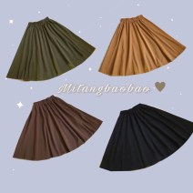 skirt Fall 2017 Average size Black, ginger, brown Mid length dress Retro High waist A-line skirt Solid color Type A 18-24 years old cotton