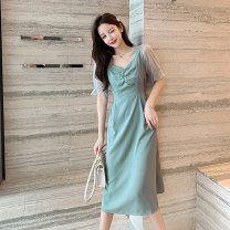 shirt Green, black S,M,L,XL Summer 2020 other 31% (inclusive) - 50% (inclusive) Short sleeve commute square neck Socket puff sleeve Solid color Korean version 1177#
