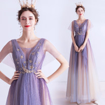 Dress / evening wear Wedding, adulthood, party, company annual meeting, performance, routine, appointment XXL,XXXL,XS,S,M,L,XL Blue purple fashion longuette middle-waisted Autumn 2020 Self cultivation Deep collar V Bandage Netting 18-25 years old Short sleeve Embroidery Angel wedding dress