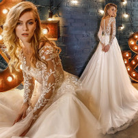 Wedding dress Autumn 2020 white XXL,XXXL,XS,S,M,L,XL court Small tail zipper Hotel Interior Deep collar V organza  Three dimensional cutting middle-waisted 18-25 years old Embroidery Sleeved shawl Angel wedding dress 96% and above polyester fiber Hand embroidery