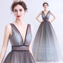 Dress / evening wear Wedding, adulthood, party, company annual meeting, performance XXL,XXXL,XS,S,M,L,XL silver gray sexy longuette middle-waisted Autumn 2020 Self cultivation Deep collar V Bandage Netting 18-25 years old Sleeveless Nail bead Angel wedding dress 96% and above Sequins