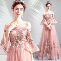 Dress / evening wear Wedding, adulthood, party, company annual meeting, performance XXL,XXXL,XS,S,M,L,XL Naked powder grace longuette middle-waisted Autumn 2020 Fall to the ground One shoulder Bandage Netting 18-25 years old three quarter sleeve Nail bead Angel wedding dress pagoda sleeve Pearl