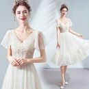 Dress / evening wear Wedding, adulthood, party, company annual meeting, performance, routine, appointment XXL,XXXL,XS,S,M,L,XL Champagne Intellectuality Medium length middle-waisted Autumn 2020 Fluffy skirt Deep collar V Deep V style Netting 18-25 years old Short sleeve Embroidery Angel wedding dress