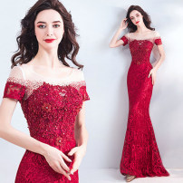 Dress / evening wear Wedding, adulthood, party, company annual meeting, performance XL,L,M,S,XS,XXXL,XXL gules grace longuette middle-waisted Autumn 2020 fish tail One shoulder Bandage Netting 18-25 years old Short sleeve Diamond ornament Angel wedding dress other 96% and above Resin drill