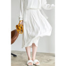 skirt Summer 2021 S,M,L White, blue Middle-skirt commute Natural waist Pleated skirt other Type A other Chartres pocket Korean version