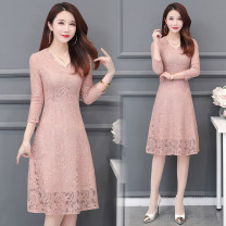 Dress Spring 2021 Lotus, light green M,L,XL,2XL,3XL,4XL Mid length dress singleton  Long sleeves commute V-neck middle-waisted Solid color zipper A-line skirt routine Others 35-39 years old Type A Korean version 81% (inclusive) - 90% (inclusive) Lace other