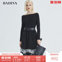 Dress Spring 2020 black XS S M L XL XXL Middle-skirt singleton  Long sleeves One word collar middle-waisted Dot Socket A-line skirt routine 30-34 years old Type A Pattina Patchwork lace 31% (inclusive) - 50% (inclusive) brocade nylon Viscose (viscose) 55.7% polyamide (nylon) 44.3%