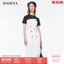 Dress Summer 2020 Black and white stripes XS S M L XL XXL Mid length dress singleton  Short sleeve commute Crew neck High waist stripe double-breasted One pace skirt routine 30-34 years old Type H Pattina Ol style Splicing 102U208 51% (inclusive) - 70% (inclusive) cotton