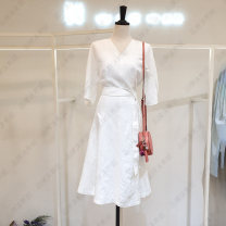 Dress Summer 2021 White, pink S,M,L Mid length dress singleton  Short sleeve commute V-neck High waist Solid color A-line skirt routine Others Type A Mohini Korean version Bandage 71% (inclusive) - 80% (inclusive) other other