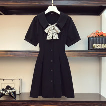 Women's large Summer 2021 black Large L, large XL, 2XL, 3XL, 4XL Dress singleton  commute easy moderate Socket Short sleeve Solid color Korean version Three dimensional cutting routine Beauty trends 25-29 years old Button 96% and above Medium length