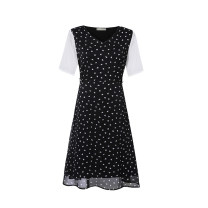 Women's large Summer 2021 black Large L, large XL, 2XL, 3XL, 4XL, 5XL Dress singleton  commute easy moderate Socket Short sleeve Dot Korean version V-neck Three dimensional cutting routine Beauty trends 25-29 years old Three dimensional decoration 96% and above Medium length