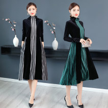 Dress Autumn 2021 Coffee, green, silver M,L,XL,2XL,3XL,4XL Mid length dress singleton  Long sleeves commute Half high collar middle-waisted stripe Socket A-line skirt routine Others Type A Retro Stitching, printing More than 95% velvet polyester fiber
