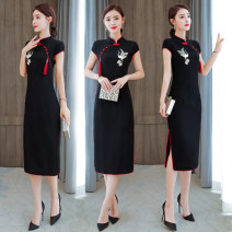 Dress Summer 2020 black M,L,XL,2XL,3XL Mid length dress singleton  Short sleeve commute stand collar middle-waisted Solid color zipper One pace skirt routine Others Type H Retro Tassels, embroidery, buttons, zippers, retro buttons More than 95% other