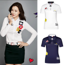 Golf apparel White, red, precious blue S,M,L,XL,XXL female GOLF t-shirt
