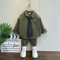suit Happy little guest Black, army green 90cm,100cm,110cm,120cm,130cm,140cm male spring and autumn Long sleeve + pants 2 pieces routine No model Single breasted nothing cotton children Expression of love MMBB019 Class B Cotton 95% other 5% Chinese Mainland