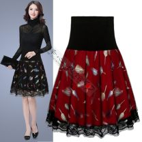 skirt Summer 2020 M,L,XL,2XL Red, black Middle-skirt Versatile High waist Pleated skirt Type A 18-24 years old