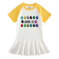 Dress Yellow, purple, green, light blue, rose red, pink, this skirt is smaller than 2 yards female Roco baby 90cm,100cm,110cm,120cm,130cm,140cm Cotton 100% summer Europe and America Short sleeve Cartoon animation cotton Pleats Color matching short sleeve skirt - many between us Class A