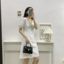 Dress Summer 2021 White, black M, L singleton  Short sleeve V-neck High waist Solid color Socket A-line skirt routine Others Type A Other / other 71% (inclusive) - 80% (inclusive) other other