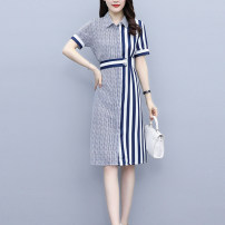 Middle aged and old women's wear Summer 2021 Picture color L [recommended 100-118 kg], XL [recommended 120-133 kg], 2XL [recommended 135-148 kg], 3XL [recommended 150-163 kg], 4XL [recommended 165-178 kg], 5XL [recommended 180-200 kg] commute singleton  stripe square neck routine Z82800401 Button