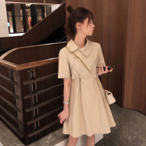 Dress Summer 2020 Black, khaki S,M,L,XL Mid length dress singleton  Short sleeve commute Doll Collar Loose waist Solid color Three buttons A-line skirt routine Others Type A Retro Nail bead More than 95% other other