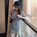 T-shirt Gray, black S,M,L,XL Summer 2020 Short sleeve V-neck easy Medium length routine commute other 96% and above 18-24 years old Korean version originality Solid color, stitching Button, button