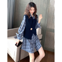 shirt Khaki, blue S,M,L,XL Spring 2021 other 96% and above Long sleeves commute Medium length Polo collar Single row multi button shirt sleeve lattice 18-24 years old Straight cylinder Korean version E113 Button