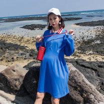 Dress happymaman blue M,L,XL Korean version Long sleeves routine autumn Lapel Solid color